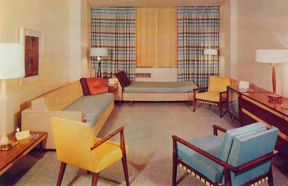 интерьер американской гостиной в 60-е годы