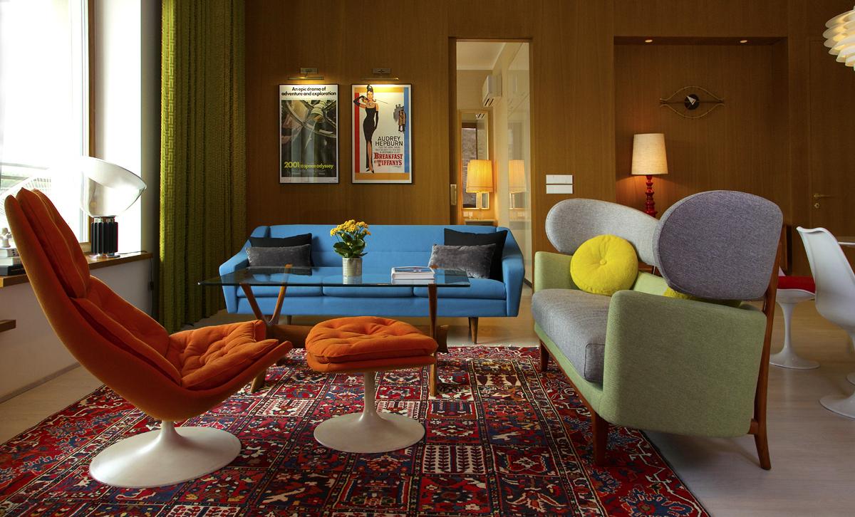 интерьер гостиной в стиле 60-х годов