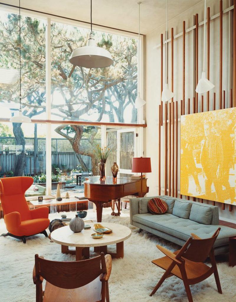 яркий интерьер американской квартиры, 60-е годы