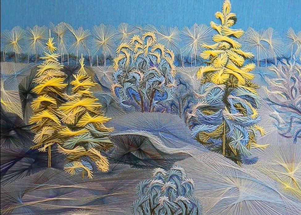Фото рисунка изонитью зима